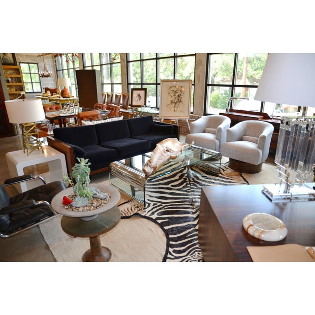 Large, impressive cocktail table designed by Leon Rosen for Pace Collection. Stunning chrome waterfall edges with...