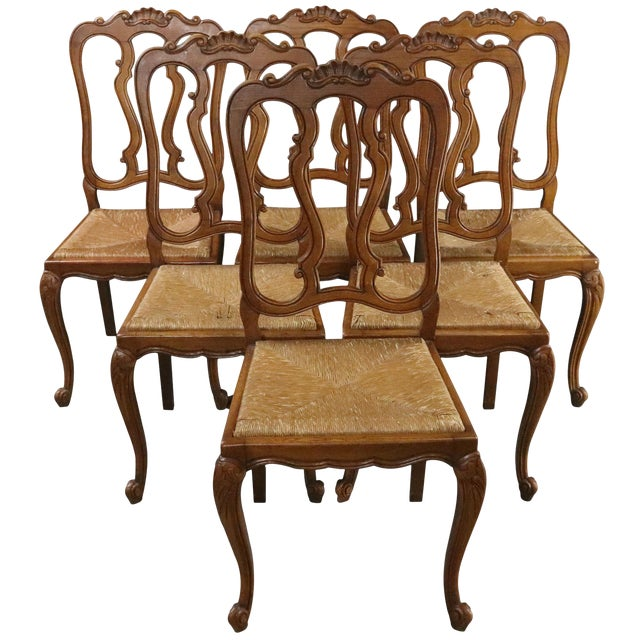 Dining Chairs Louis XV Rococo Vintage French 1950 - Set of 6 For Sale
