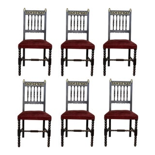 19th Set of Six Spanish Chairs With Bronze Details and Red Velvet Upholstery For Sale