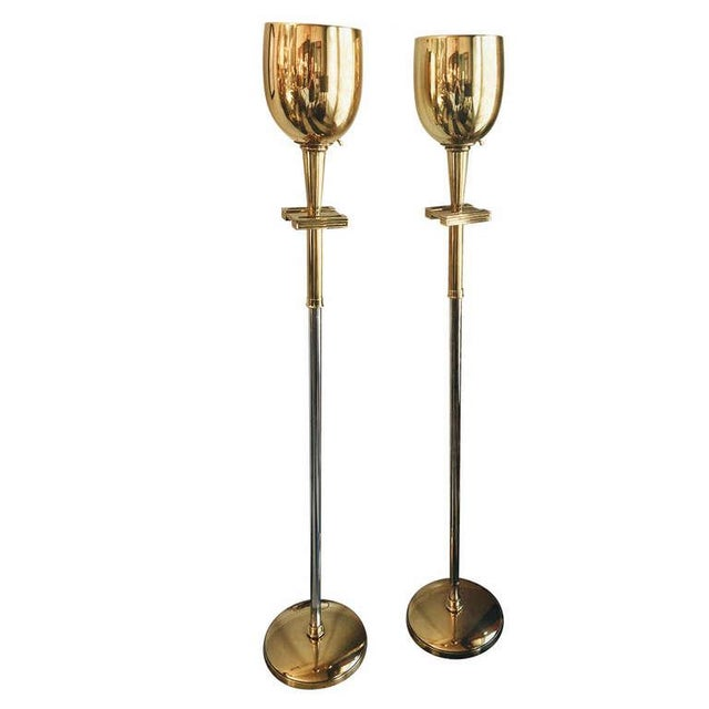 Tommy Parzinger Brass Torchieres - A Pair - Image 6 of 6