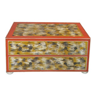 1960s Vintage Hand Painted Metal 2-Drawer Chest For Sale