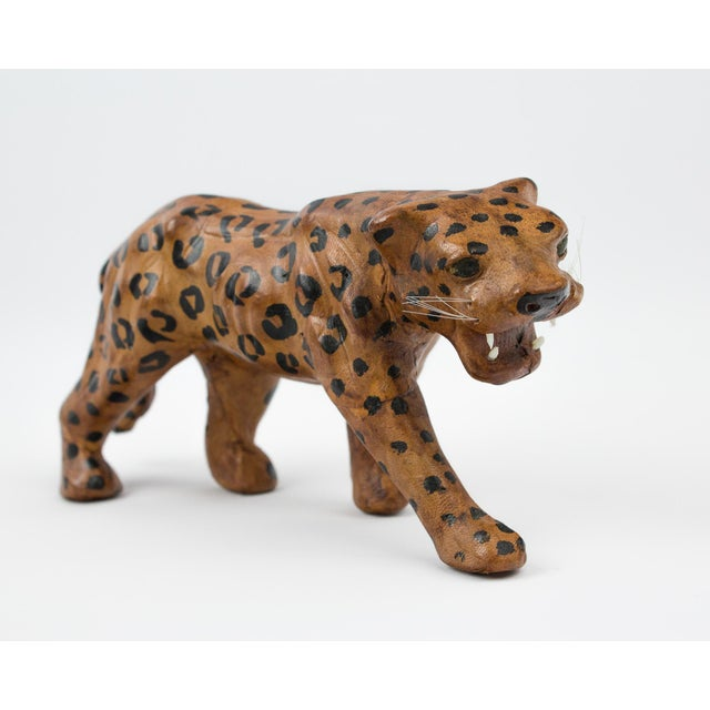 Vintage leather wrapped leopard / big cat figure. Hand crafted and painted. Circa 1970's. Excellent vintage condition,...