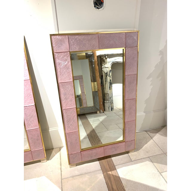 Early 21st Century Modern Pink Murano Glass and Brass Mirror For Sale - Image 4 of 9
