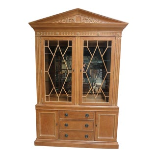 Henredon Monumental Aegean Crystal Curio China Carved Hutch Cabinet
