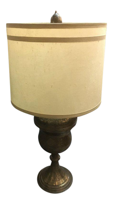 Antique Hand Pierced U0026 Etched Brass Lamp