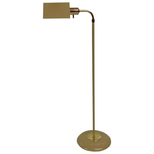 Mid-Century Beige & Brass Floor Lamp For Sale