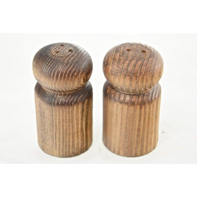 Cottage Rustic Turned Wood Salt & Pepper Shakers For Sale - Image 3 of 6