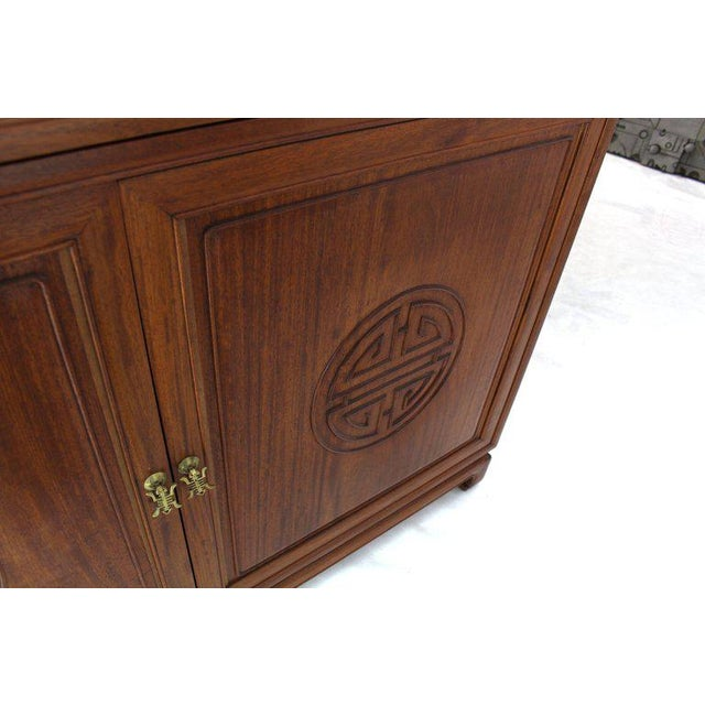 1990s Asian Solid Teak Étagère/Double Carved Door Cabinets - a Pair For Sale - Image 9 of 14