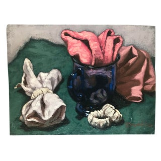 Paul Dinwiddie Still Life With Cobalt Glass and Fabric Painting For Sale