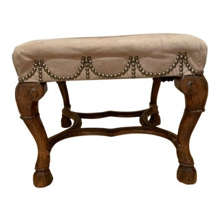 Suede Upholstered Spanish Footstool For Sale