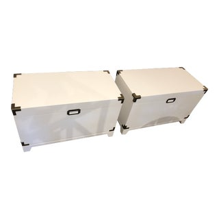 White Campaign Chests - A Pair For Sale