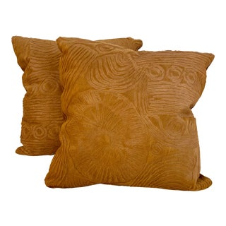 "Etched ""Jonathan"" Hair on Hide Pillows - a Pair For Sale"