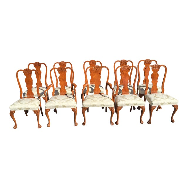 Burl Mahogany Chippendale Style Dining Chairs - Set of 10 - Image 1 of 12