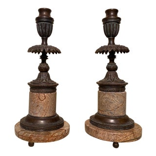 Theodore Alexander Bronze and Marble Candle Stands - a Pair For Sale