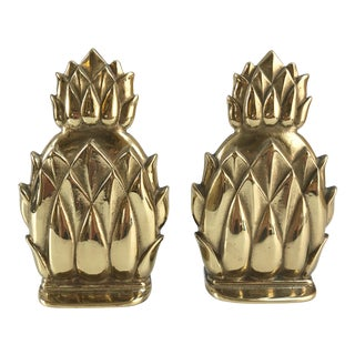 Hollywood Regency Style Solid Brass Pineapple Bookends - a Pair For Sale