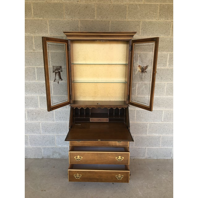 Jasper Furniture Lighted Maple Secretary Desk For Sale - Image 5 of 11