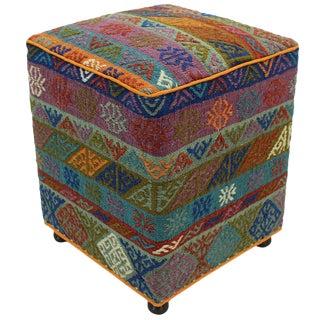 Vintage Hammett Green Handmade Soumakh Upholstered Ottoman For Sale