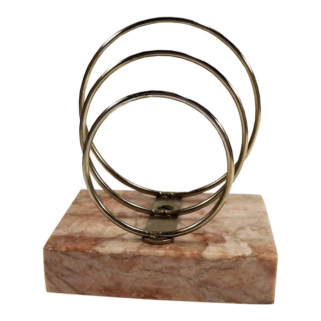 Vintage Retro Mid-Century Letter Organizer Chrome Rings on Marble - Image 1 of 7