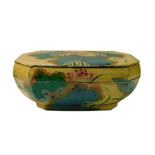 Restored Vintage Chinese Yellow Octagon Wood Container Box For Sale