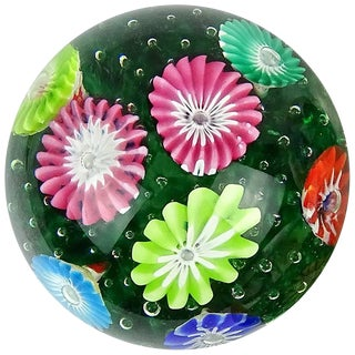 Fratelli Toso Murano Rainbow Wild Flower Garden Italian Art Glass Paperweights For Sale