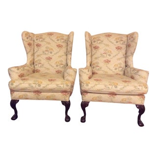Traditional Century Mahogany Claw and Ball Arm Chairs - a Pair For Sale
