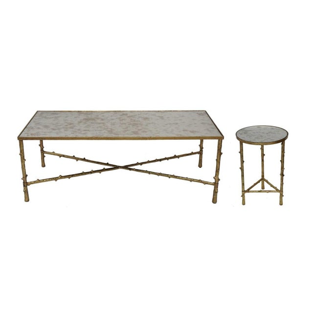 Contemporary Glostrup Coffee & Side Table Combo Set, Mirrored Top, Accent Home Furniture, Living Room, Gold Leafing Finish For Sale In Dallas - Image 6 of 8