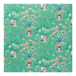 Sample - Schumacher Ming Vase Wallpaper in Jade For Sale