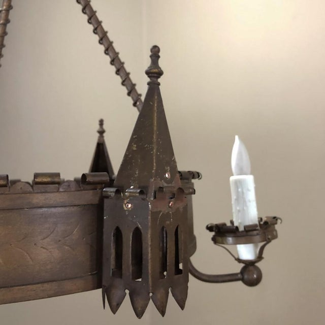 Antique Gothic Wrought Iron Chandelier For Sale - Image 9 of 13