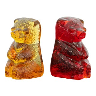 Mid Century Modern Blenko Red & Yellow Glass Bear Book Ends 1970s - a Pair For Sale