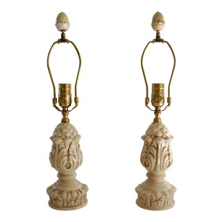 Bradburn Gallery Cream White Crackle Glaze Botanical Motif Ceramic Table Lamps - A Pair For Sale