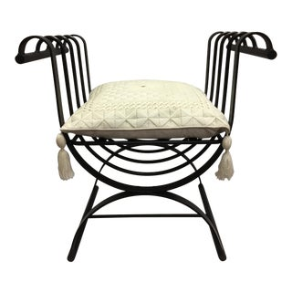 Black Moroccan Wrought Iron Scroll Throne Chair For Sale