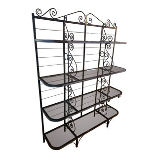 1950s Vintage Wrought Iron Bakers Rack With Glass Shelves For Sale
