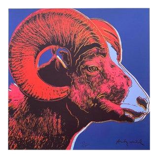 "Andy Warhol Vintage 1986 Rare Lmtd Edtn Endangered Species Large Fine Art Lithograph Print "" Bighorn Ram "" 1983 For Sale"