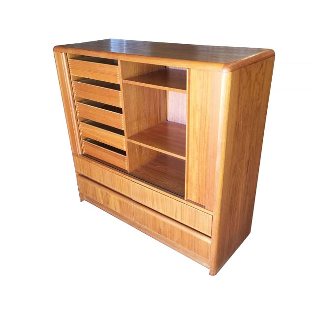 Mid-Century Modern Side Rolling Front Wardrobe With Media Center, Chest of Drawers For Sale - Image 3 of 9