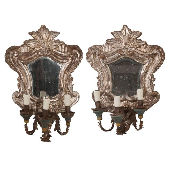 18th Century Italian Silver Gilt Venetian Sconces - a Pair For Sale - Image 11 of 11
