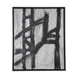 Image of Black and White Abstract Painting, Newly Framed For Sale