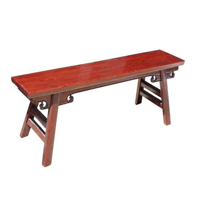 Asian Chinese Oriental Distressed Brown Stain Long Wood Bench Stool For Sale - Image 3 of 8