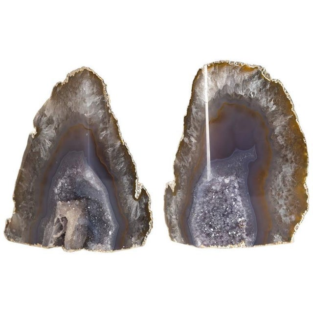Organic Agate and Quartz Crystal Bookends Wrapped in White Gold - Image 5 of 8