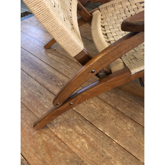 Organic Mid Century Modern Woven Rope and Teak Folding Armchair For Sale - Image 10 of 12