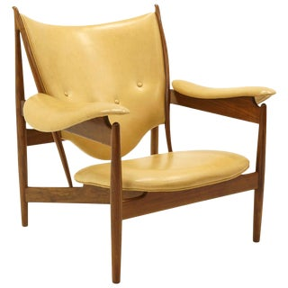 Chieftain Chair by Finn Juhl for Baker, Walnut and Mustard Color Leather For Sale