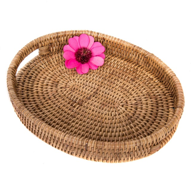 Artifacts Rattan Oval Tray For Sale - Image 4 of 4