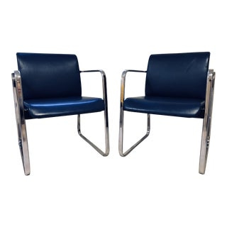 1970s Vintage Peter Protzman for Herman Miller Blue Chrome Frame Chair For Sale