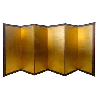 19th Century Asian Antique Gold Leaf Room Divider Screen For Sale