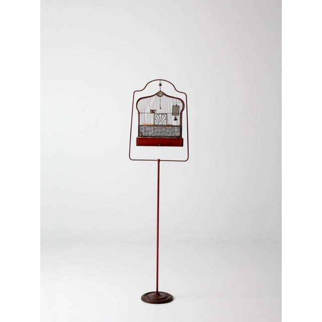 Cottage Antique Crown Bird Cage With Stand For Sale - Image 3 of 10