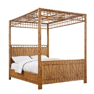 Vintage Tortoise Bamboo Canopy Bed, Queen Size by Jardins en Fleur For Sale