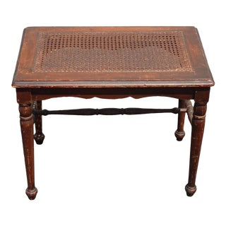 Vintage French Country Brown Rustic Cane Bench Side Table For Sale