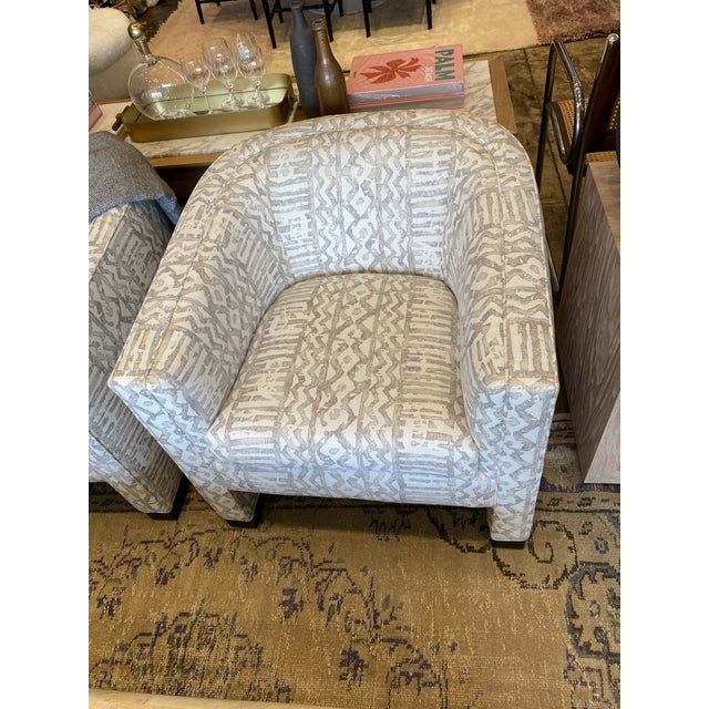 Textile 1970's Club Chair Reupholstered in Mark Alexander Linen - 2 Available For Sale - Image 7 of 9