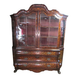 18th Century Dutch Inlaid Display Cabinet For Sale