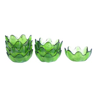 Blenko Glass Petal / Lotus Bowls in Kiwi Green - Set of 8 For Sale