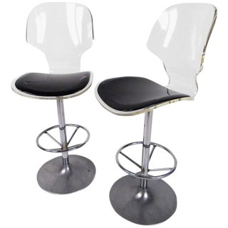 Pair of Modern Swivel Bar Stools in Acrylic For Sale